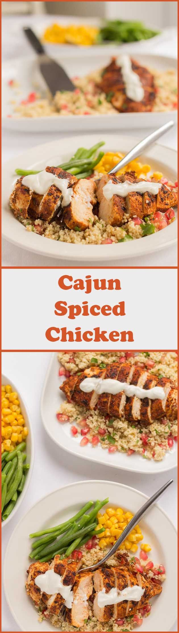 Weeknight dinners just became quicker with this tasty cajun spiced chicken recipe. An easy to prepare full meal made from basic kitchen cupboard spices and a mouth-watering pomegranate couscous accompaniment. Healthy, delicious, filling and best still, ready to be served in just 30 minutes.