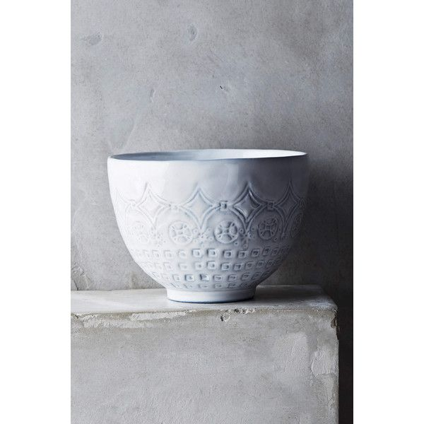 Anthropologie Etched Geo Bowl (£13) via Polyvore featuring home, kitchen & dining, serveware, white, microwave safe bowl, white bowl, white serveware, anthropologie and white stoneware