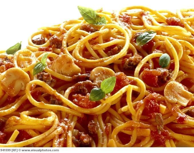 "Spaghetti Bolognese (either use this recipe - Nigella Lawson's) or do your own ""pantry pasta"" with 1 lb ground beef."