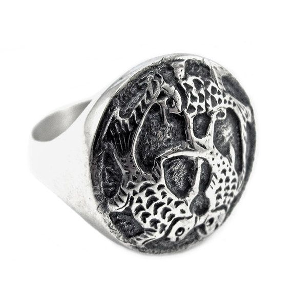 Sterling silver ring with engraved detail koi by NatashaGjewellery