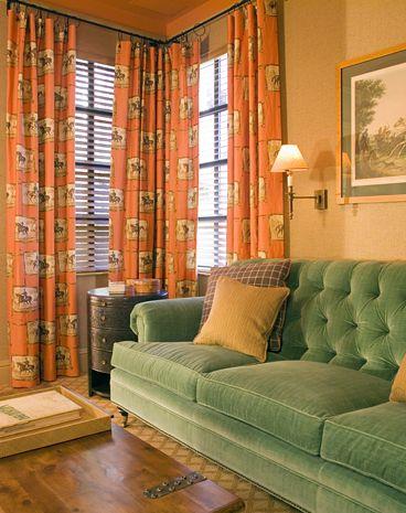 arts and crafts styled window treatments corner curtain rodcorner