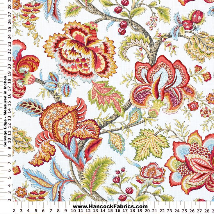 Crypton Jacobean Swag Coral Cotton Fabric Hancock Fabric