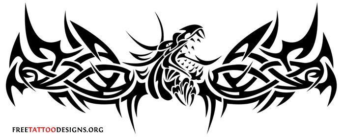 joli tatouage dragon tribal pour bas du dos