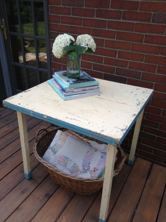 Vintage, handmade (1924) table with folding legs. Perfect working condition, original paint.