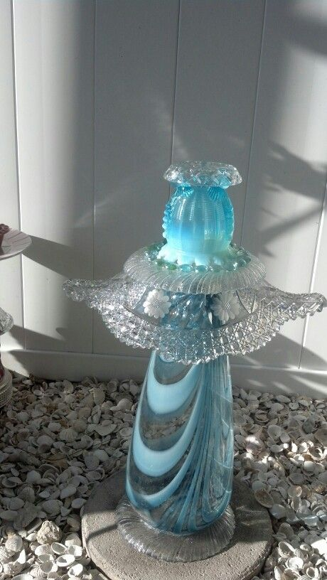 Small Garden Totem from Repurposed Glassware