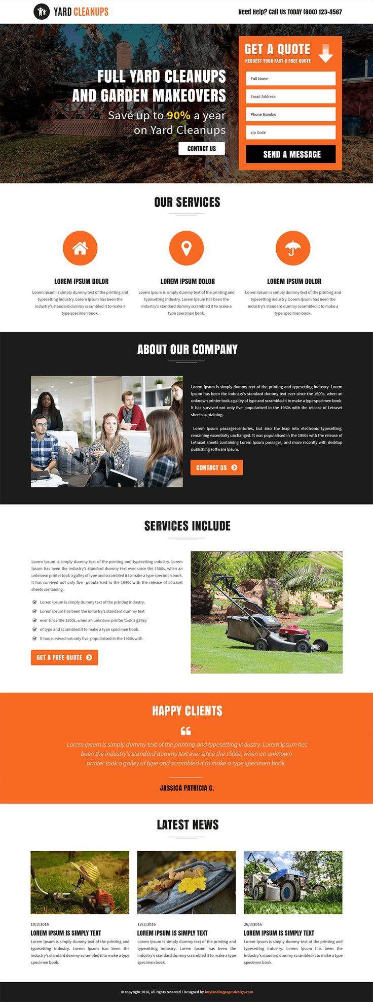 Responsive Yard Cleanups Services Landing Page Template $29 only BuyNow!