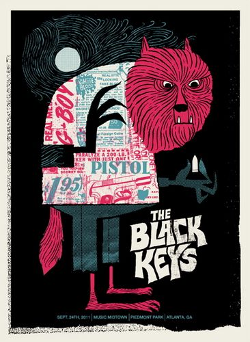 The Black Keys 2011 concert poster by Methane Studios: Methane Studios, Black Keys Posters, The Black Keys, Gig Posters, Illustrations, Art, Graphics, Concerts Posters, Design
