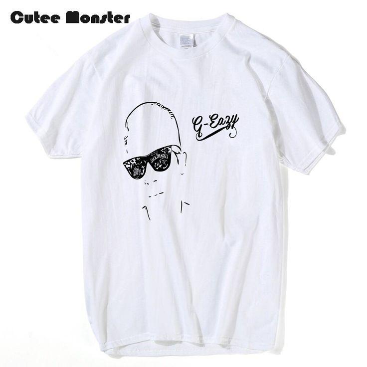 G Eazy Young Gerald White T-Shirt Men Summer 100% Cotton Hip Hop Top Tees Fashion Short Sleeve Music Star Cartoon T shirt 3XL #Affiliate