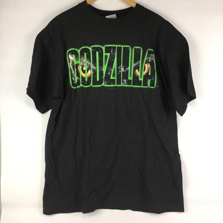 VTG 1998 Official Godzilla T-Shirt Large Black Toho Movie Promo Cronies Graphic #Cronies #GraphicTee