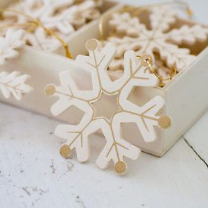 Wooden hanging snowflakes painted White & Gold