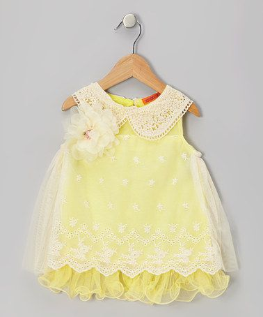 Take a look at this Yellow Eyelet Lace Collar Dress - Toddler & Girls by Funkyberry on #zulily today!