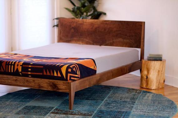 Modern Bed Walnut Bed Solid Wood Bed Platform Bed Mid Etsy