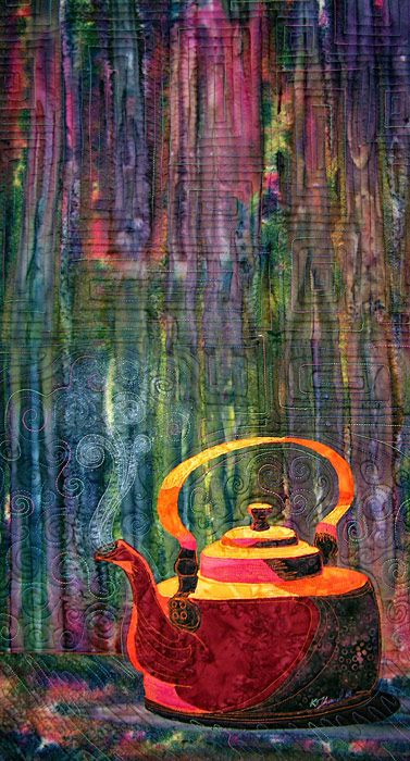"Teapot Art Quilt, 17 x 36"", by Kate Themel:"
