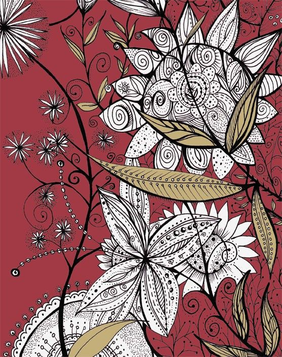 Flora Maroon  Print 8x10 by meArtDesign on Etsy, $18.00 ooh i love this print