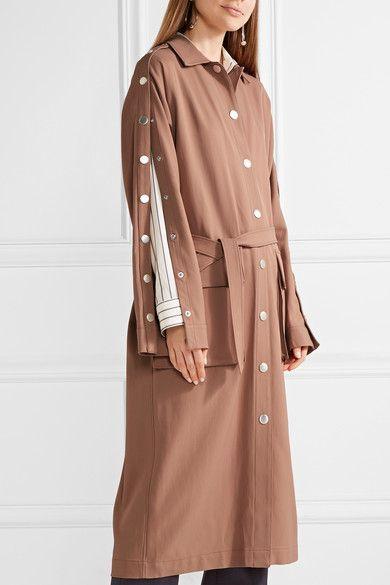 Tibi - Embellished Satin-twill Trench Coat - Beige - x small