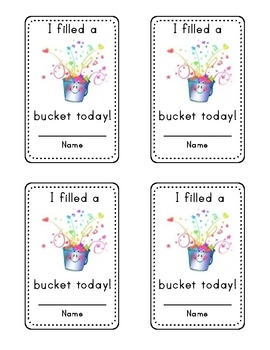 These cards are for use with the book Have You Filled a Bucket Today