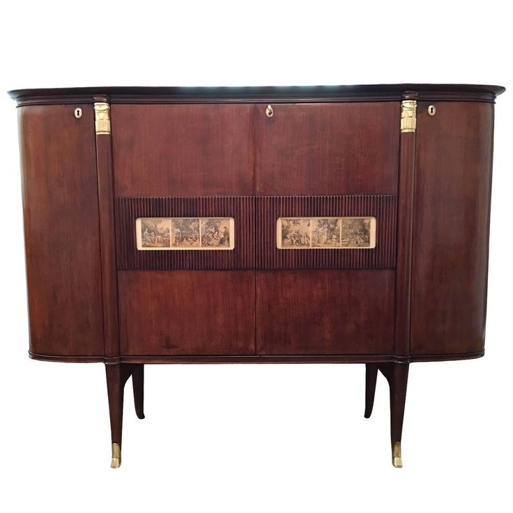 Spectacular Italian Mahogany and Gilt Bronze Bar Cabinet by Paolo Buffa   From a unique collection of antique and modern dry bars at https://www.1stdibs.com/furniture/storage-case-pieces/dry-bars/