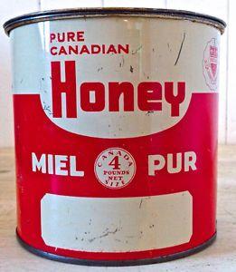 Antiquité. 1950. Collection. Boîte en fer 4 lbs Miel Pur Canada