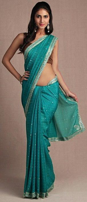 Ritu Kumar Teal saree