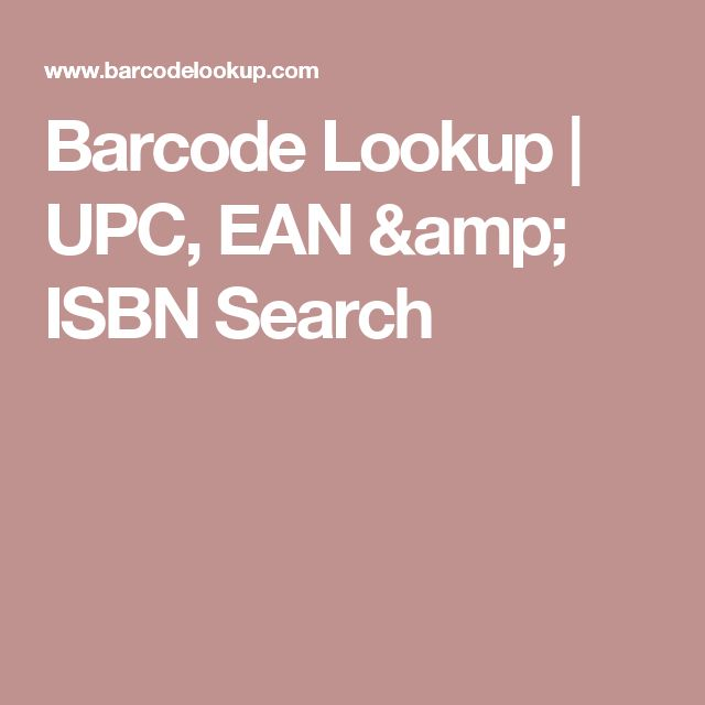 Barcode Lookup | UPC, EAN & ISBN Search