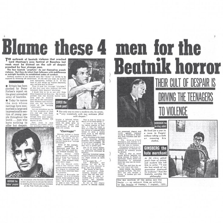 These guys sound hip... -   KEROUAC the hobos prophet, CORSO the crank poet, BURROUGHS the ex-drug addict, GINSBERG the hate merchant!!  Scroll right and zoom to read more!