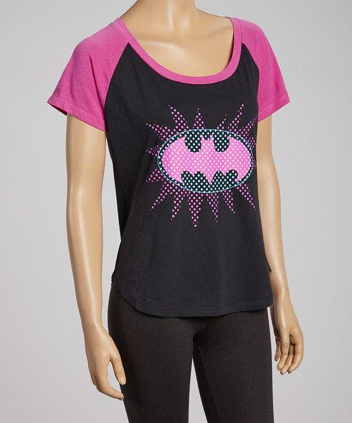 Look at this #zulilyfind! Black & Pink Batgirl Symbol Raglan Tee by Batman #zulilyfinds