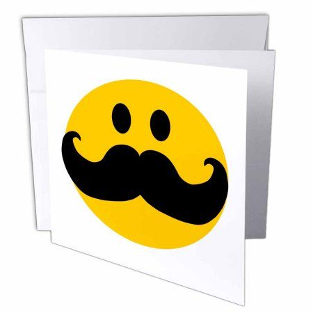 3dRose Yellow Smiley face with big black mustache - funny moustache - fun hipster fancy gentleman cartoon, Greeting Cards, 6 x 6 inches, set of 6