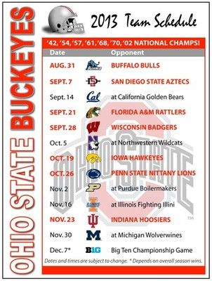 2013 Ohio State Buckeyes Football Schedule Magnet | eBay