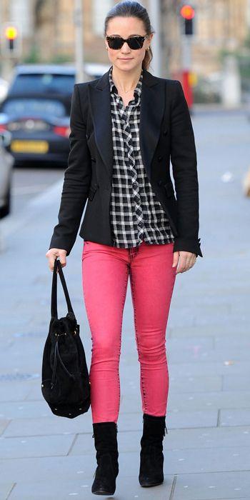 Pippa Middleton - Zara blazer, Maje shirt, SuperDry jeans, and Aruna Seth bag