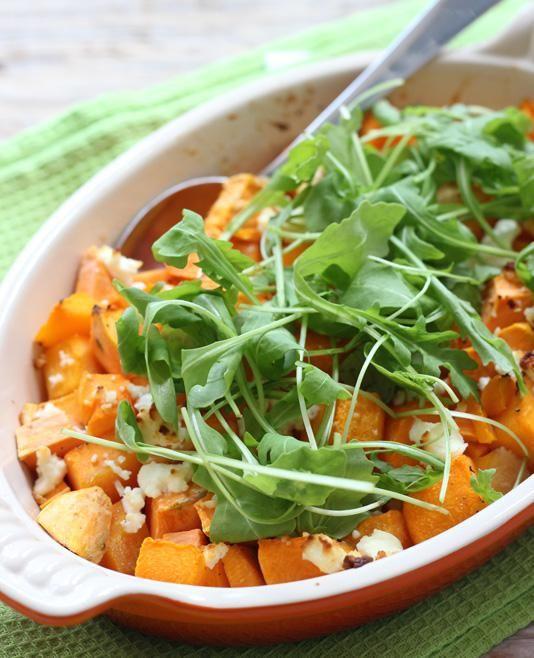 Trek in pompoen? Maak dan deze overheerlijke ovenschotel met pompoen, zoete aardappel en geitenkaas!