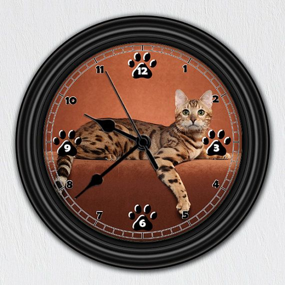 Bengaalse kat • unieke Wall Clock • Handmade Gift • huisdier Decor