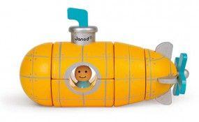 Magnetbausatz U-Boot | U-Boot aus 5 magnetischen Holzteilen zum Zusammenbauen und Spielen. | ab 24 Monaten | 5 magnetische Holzteile | Holz: Kirsche | Maße: 14,5 x 6 x 9 cm | Erhältlich bei www.kultstuecke.com