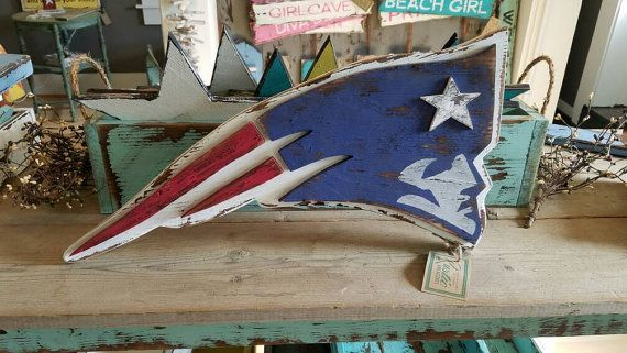 Rustic New England Patriots Sign  vintage Boston sports decor