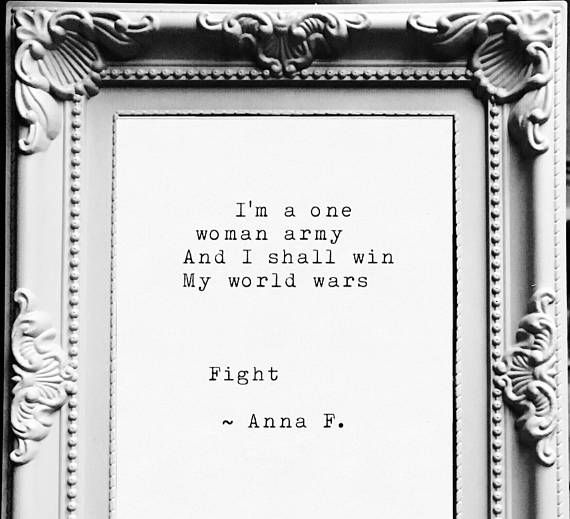 Fight. A typewriter poetry/poem print by Anna F. Customise:
