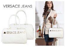 Versace jeans műbőr, cipzáras női kézitáska kényelmes, dupla fogantyúval, nagy logóval, 2 színben