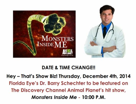 Date & Time Change for Animal Planet's airing of Monsters Inside Me, featuring Florida Eye's