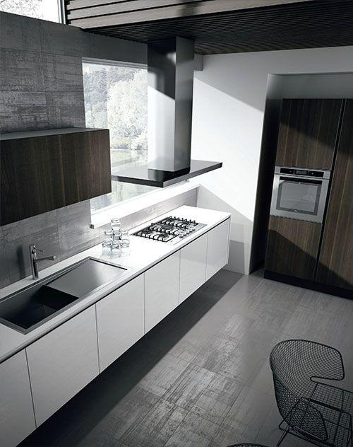 Cocina con muebles suspendidos Acabados: Laca brillante - enchape en madera