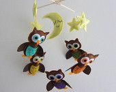 """Baby Mobile - """"Guardian of the night"""" Nursery Mobile - Handmade Baby Boy Crib Mobile - Brown flying owls """" (Match your bedding)"""