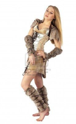 Young beautiful woman in barbarian costume  Isolated on white