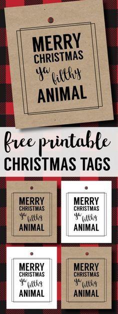 Merry Christmas Ya Filthy Animal Card Free Printable. Home Alone inspired Christmas Card gift tag printable for fun easy Christmas gift wrap.