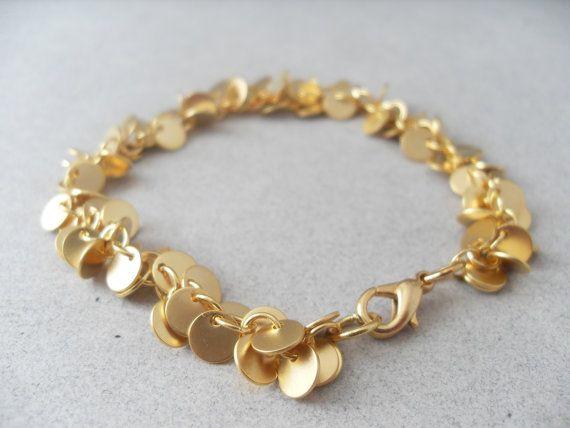 Gold Disc Bracelet Gold Chain Bracelet Free by TheJewelryDish