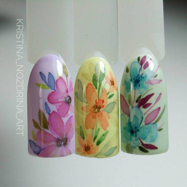 Яркие, весенне летние цветы. Как принты на платьях. Ручная роспись акварельными красками. #flower #spring #nails #design #дизайн #ногтей #nailpolish
