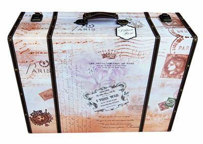 """True Love"" Paris-Themed Suitcase Card Box"