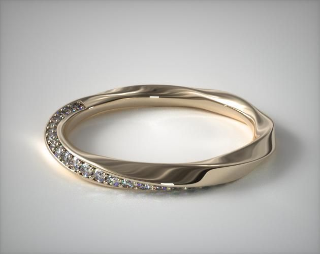 18K Yellow Gold Twisted Pave Wedding Ring