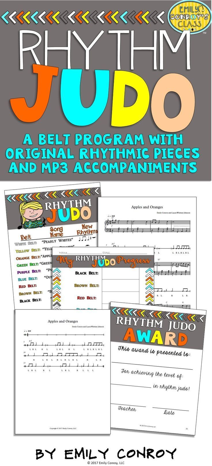 """Looking for music activities to help your students practice reading rhythms? Rhythm Judo is a program in which students attempt to master nine short rhythmic pieces or """"belts."""" Students can play each piece on buckets, drums, chairs, or even the floor making this set a great addition to bucket drumming units and music programs. Each piece also comes with an MP3 sound file for teachers or parents who don't play the piano!"""