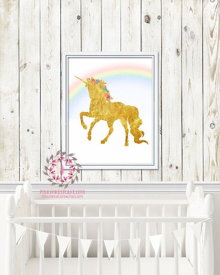 Boho Gold Unicorn Rainbow Printable Print Wall Art Watercolor Poster Baby Nursery Decor