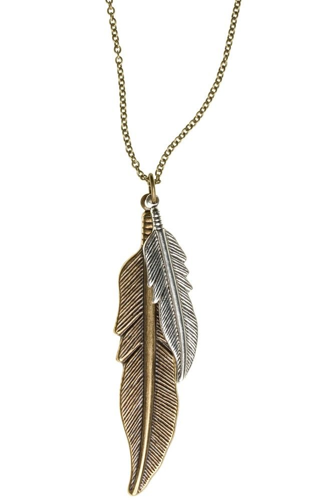 Mixed Metal Feather Necklace