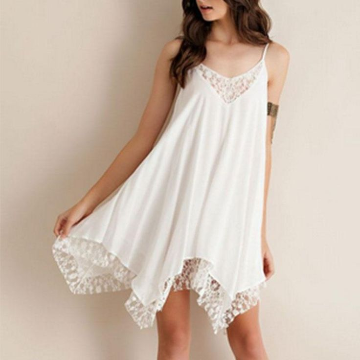 ==> [Free Shipping] Buy Best VESSOS Women Summer Lacing Party Dress White Sundress Online with LOWEST Price | 32809841676