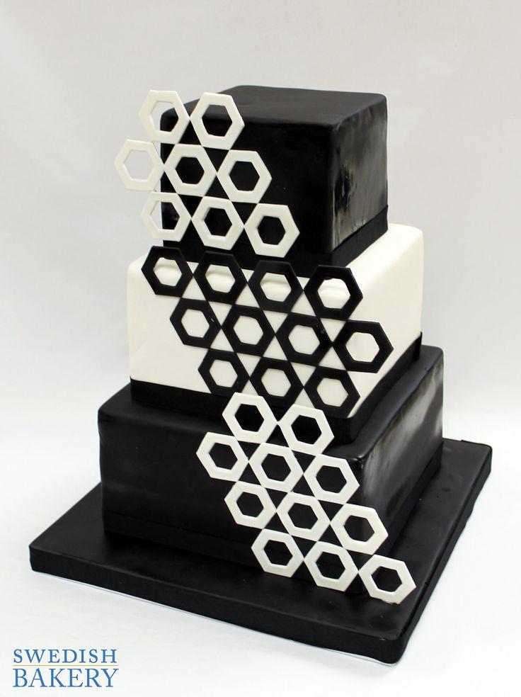 Black & White Hexagon Wedding Cake | Black and white fondant wedding cake with contrasting fondant hexagons.