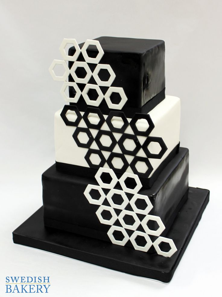 Black & White Hexagon Wedding Cake | Black and white fondant wedding cake with contrasting fondant hexagons.